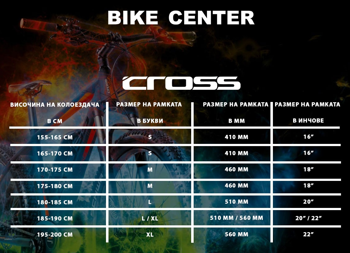 Размери на рамка за велосипеди Cross